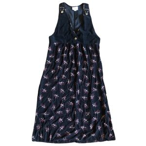 Vintage Zoe Dress Floral Black Red Overall Buckles